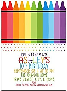 Crayon and Polka Dots Birthday Party Invitations