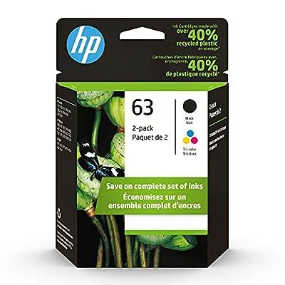 HP 63 | 2 Ink Cartridges | Black, Tri-color | F6U61AN, F6U62AN