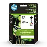 HP 63 | 2 Ink Cartridges | Black, Tri-color | Works with HP DeskJet 1112, 2100 Series, 3600 Series, HP ENVY 4500 Series, HP OfficeJet 3800 Series, 4600 Series, 5200 Series | F6U61AN, F6U62AN