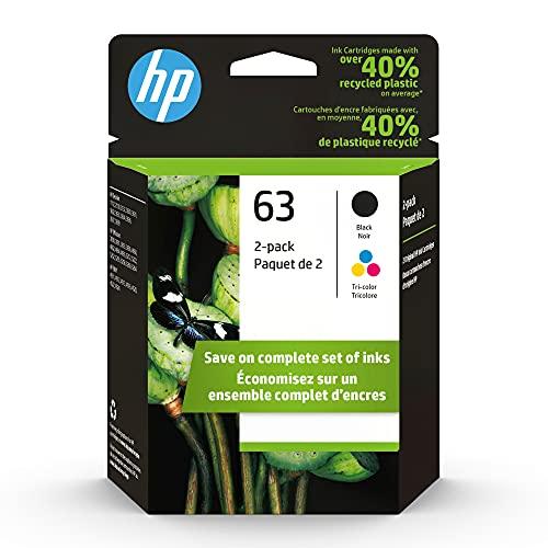 Original HP 63 Black/Tri-color Ink Cartridges (2-pack) | Works with HP DeskJet 1112, 2100, 3600 Series, HP ENVY 4500 Series, HP OfficeJet 3800, 4600, 5200 Series | Eligible for Instant Ink | L0R46AN