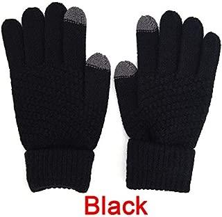 Knitted Winter Warm Woolen Gloves Touch Screen Man Woman Winter Wool Gloves Black