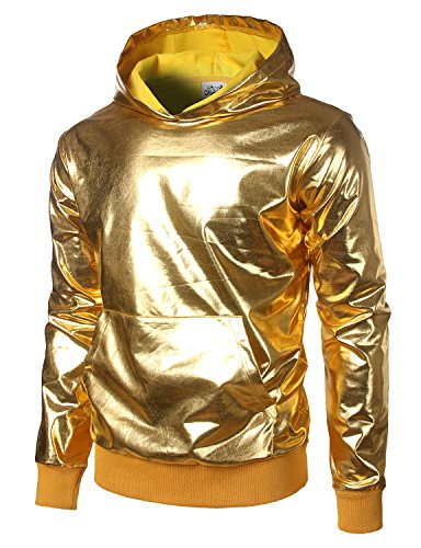 JOGAL Metallic Gold Shirts Nightclub Styles Hoodies Medium Gold
