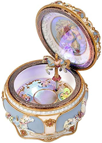ccfgh Illuminated Carousel Music Box Birthday Present Resin Decoration Castle in the Sky (Color : Castle in the Sky)