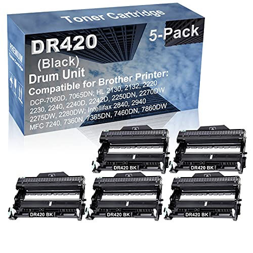 5-Pack Compatible Drum Unit (Black) Replacement for Brother DR420 DR-420 Drum Kit use for Brother Intellifax-2840, Intellifax-2940; MFC-7240, MFC-7360N, MFC-7365DN, MFC-7460DN, MFC-7860DW Printer