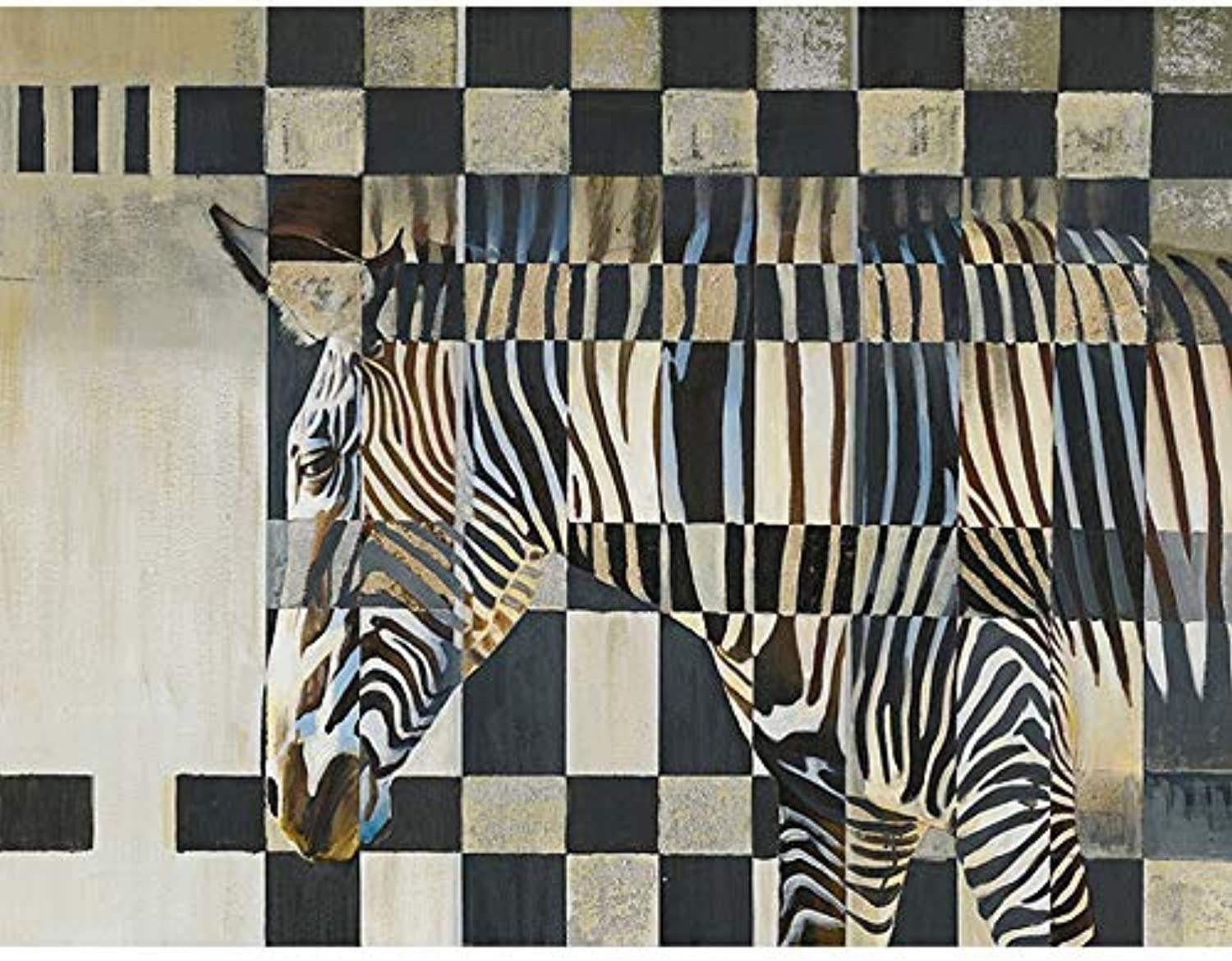 Contemporary Zebra Oil Painting ON Canvas Hanging Screen Sign Timber 0 80X60CM