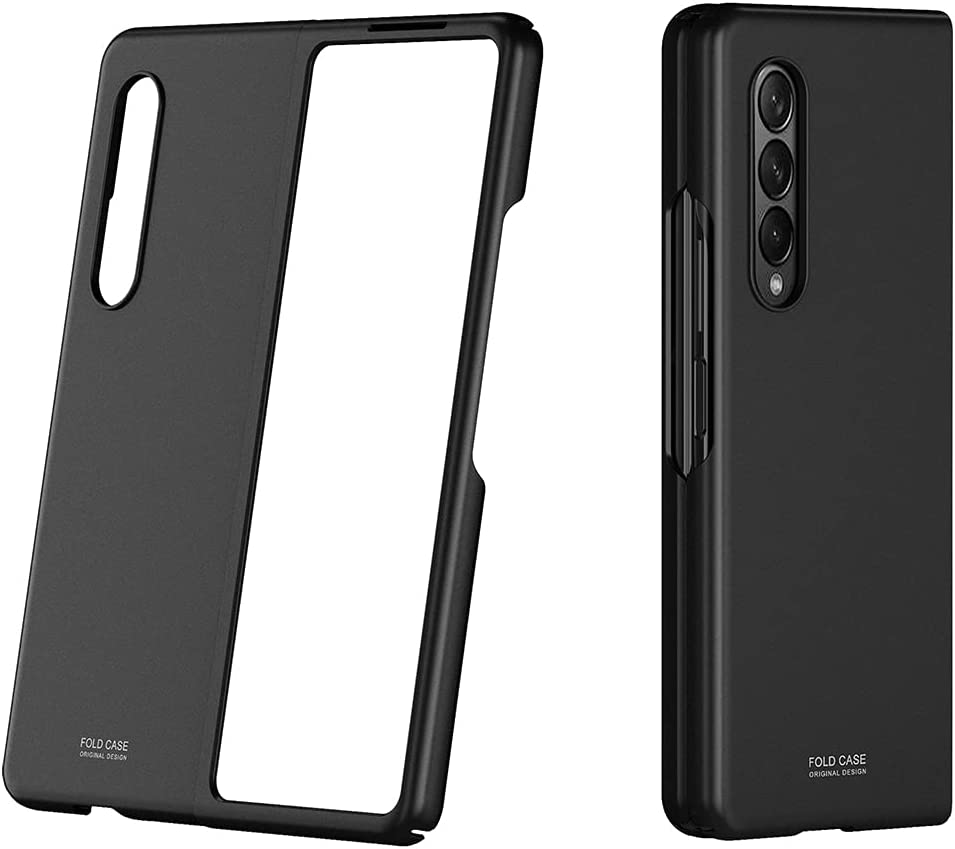 WATACHE for Galaxy Z Fold 3 Case,Thin Hard PC Full Anti-Scratch Shook-Proof Bumper Flip Skin Feel Protective Cover with Matte Finish for Samsung Galaxy Z Fold 3 5G,Black
