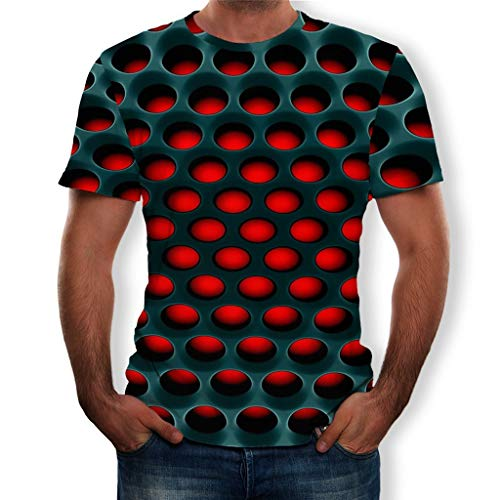 Men's 3D Pattern Printed Short Sleeve T-Shirts, Fashion Casual Top Blouse for Unisex (Black-2, XL)