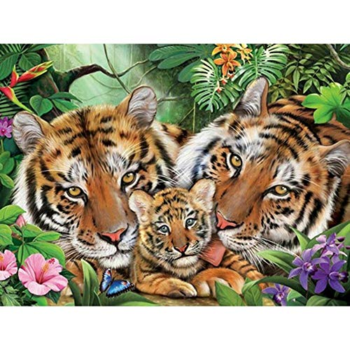 DIY Art 5D Full Drill Diamond Painting Kits Tiger Animal Round Full Drill Diamond Art,Perfect for Relaxation and Home Wall Decor 30 * 40cm