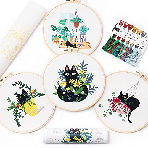REEWISLY 4 pcs of Embroidery Starter kit with Patterns and Instructions, DIY Adult Beginner Cross Stitch Kits, Including 2 Plastic Embroidery Rings, 1 Pair of Scissors, Colored Threads and Needles