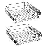LZQ Cajón telescópico bandeja de metal extraíble 50cm organizador interior almacenaje para cocina baño armario taller (2 x 50 cm)
