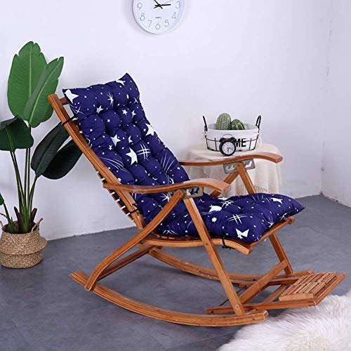 Outdoor Indoor Patio High Back Chair Pad Rocking Chair with Ties Thick Padded Rocking Chair Cushion Seat Garden Recliner Swing Bench Cushion-f 48x120cm (19x47inch)