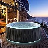 Miweba MSpa aufblasbarer Whirlpool Aurora D-AU06 Outdoor - inkl. LED RGB - für 6 Personen - 138 Düsen - 204 x 70 cm - Tüv GS geprüft - 930 Liter - Pool aufblasbar (Delight Aurora 6 Personen)