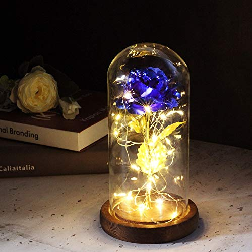Rosa roja en una cúpula de cristal sobre una base de madera para regalos de San Valentín, lámparas de rosas LED de Navidad