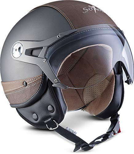 "Soxon® SP-325 Urban ""Titan"" · Jet-Helm · Motorrad-Helm Roller-Helm Scooter-Helm Moped Mofa-Helm Chopper Retro Vespa Vintage Pilot · ECE 22.05 Visier Leather-Design Schnellverschluss Tasche L (59-60cm)"