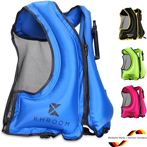 Khroom Chaleco Salvavidas Inflable - Pesa Solo 400 Gramos - Ayuda a la flotabilidad para Snorkel, Kayak y Sup - para Adultos (Azul)