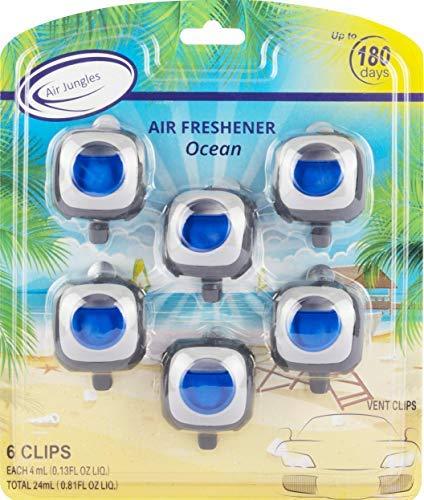 Air Jungles Ocean Scent Car Air Freshener Clip, 6 Car Freshener Vent Clips, 4ml Each, Long Lasting Air Freshener for Car, Up to 180 Days Car Refresher Odor Eliminator
