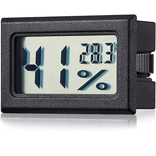 Frienda Mini Hygrometer Thermometer Hygrometer LCD Monitor Feuchtigkeit Temperatur Gauge Feuchtigkeit Gauge Indikator Zimmer Thermometer für Gewächshaus, Autos, Haus, Büro, Schwarz