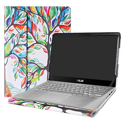 Alapmk Diseñado Especialmente La Funda Protectora de Cuero de PU para 14' ASUS VivoBook S14 S410 & VivoBook Flip 14 TP410 & ZenBook Flip UX461UN UX461UA Series Ordenador portátil,Love Tree