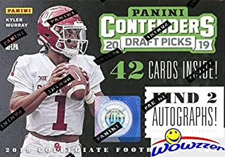 2019 Panini Contenders Draft Pick NFL Football EXCLUSIVE Factory Sealed Retail Box with TWO(2) AUTOGRAPHS! Look for RCs & Autos of Kyler Murray, Daniel Jones, Dwayne Hoskins, Drew Lock & More! WOWZZER