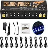 Guitar Pedal Power Supply 10 Isolated DC Output for 9V/12V/18V, 100mA 300mA 500mA Effect Pedal, with USB Port for Charging Mobile Phone Tablet, Short Circuit/Over Current Protection CP-04