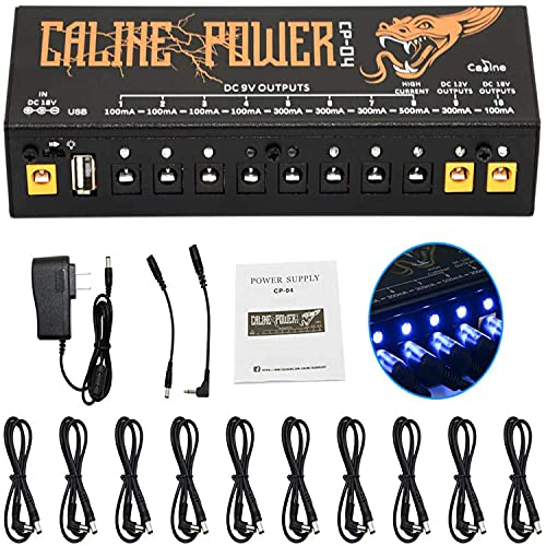 Guitar Pedal Power Supply 10 Isolated DC Output for 100mA 300mA 500mA 9V 12V 18V Effect Pedal, with USB Port for Charging Mobile Phone Tablet, Short Circuit and Over Current Protection CP-04
