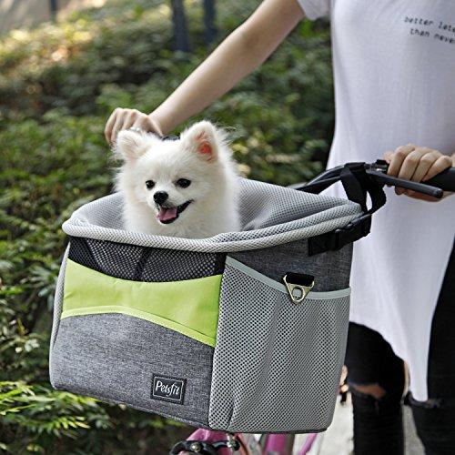Petsfit Fahrrad Haustiertasche, Hunde Fahrradtasche mit kleinen Taschen, Fahrrad Lenker Kleine Haustiertasche mit Schnallgurten, 29cm x 21cm x 30cm, grün und grau