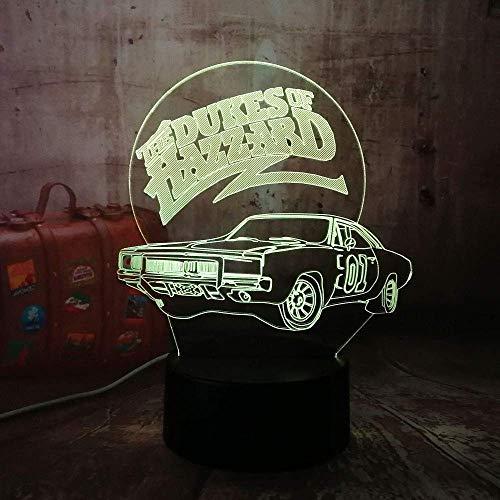 Luz De Noche 3D Para Coche, Lámpara De Mesa Led De 7 Colores Como Luz De Decoración Navideña, Regalo De Cumpleaños Para Niños, Decoración Del Hogar, Regalo Divertido