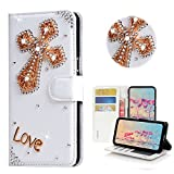 STENES Bling Case Compatible with Galaxy J2 Prime - Stylish - 3D Handmade Crystal Cross Design Magnetic Wallet Leather Cover Compatible with Samsung Galaxy J2 Prime - Gold
