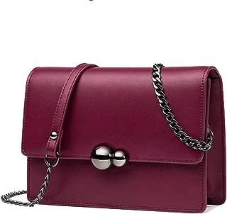 TWTAI Simple and Versatile Compact Bills Shoulder Slung Leather Handbags (Color : Purple)