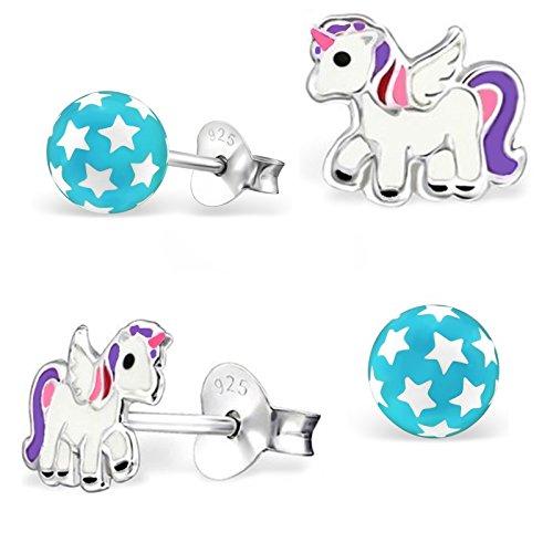 2 paar oorstekers met sterren, bolletjes en Pegasus eenhoorn, 925 echt zilver, voor meisjes, kinderen en paarden