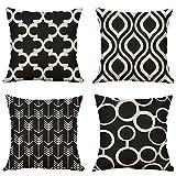 MIULEE Lot de 4 Housses de Coussin Décoratif Couverture Noir Géométrique Taies...