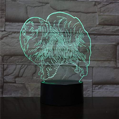 AOXULIU Luz de noche 3D Animal Night Light Led Night Light Perro Lámpara De Mesa Decoración NiñosFestival DeCumpleañosAmigo Regalo Base Blanca