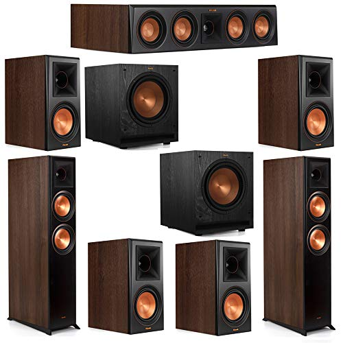 Read About Klipsch 7.2 Walnut System 2 RP-6000F Floorstanding Speakers, 1 Klipsch RP-404C Center Speaker, 4 Klipsch RP-600M Surround Speakers, 2 Klipsch R-115SW Subwoofers