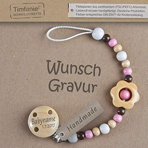 Handmade Schnullerkette mit Namen | für Mädchen | Timfanie® schoko-berry