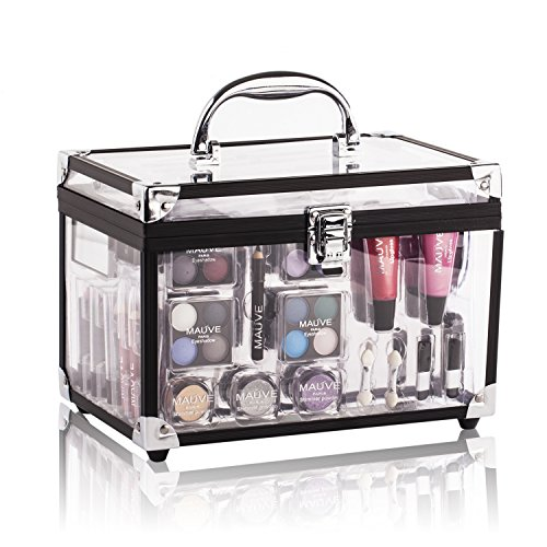 Maúve Professional makeup kits for women- Eyeshadow,Pedicure,manicure With Black Trim Clear Case MU10