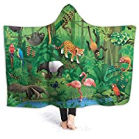 """Hoodie Blanket Tropical Jungle Animals Hooded Throw Wrap Cape Cloak Fleece Girls Reversible School Travel Shawl Flannel with Sleeves,60""""x50"""""""