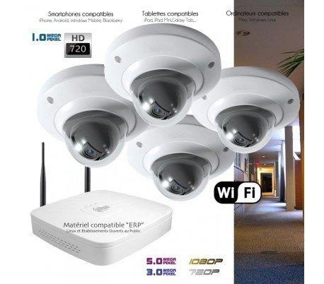 Telecamere videosorveglianza IP–Kit Wi-Fi di sorveglianza con 4telecamere interne–kit-360–4x 363–Hard disk di 2TB