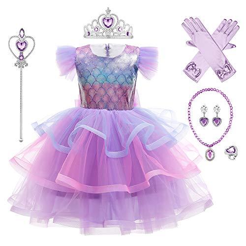 IBAKOM Disfraz de Sirena Niñas Princesa Ariel Vestirse Cosplay Fiesta Cuento Hadas Carnaval Navidad Halloween Lentejuelas Accesorios Morado 2(con accessori) 4-5 años