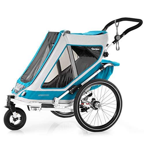 Qeridoo Speedkid 1 (2020) Fahrradanhänger für 1 Kind, Kinderfahrradanhänger - Grau