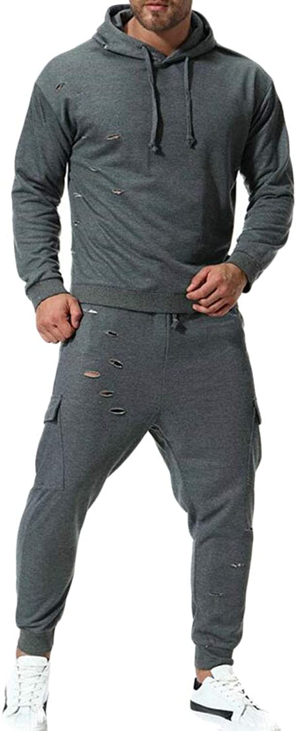 Frieed Men Hole Hoodie Sweatshirt 2 Pieces Jogger Pants Tracksuit Outfit Set