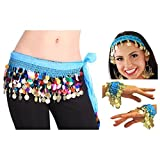 Vritraz Women's Chiffon Belly Dance Hip Scarf Waistband with Headband and Cuff Braclet, Mixed Colors Beads and Golded Coins