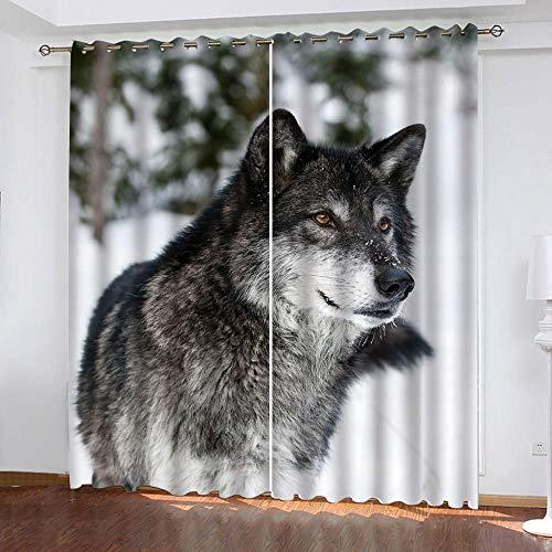 MPHWCL Cortinas termicas para el calor cortinas opacas 3D Escena de nieve de invierno lobo animal Patrón Cortinas con ojales aislantes térmicos, muy suaves 280 x 225 cm para Habitación Niños Niñas Sal