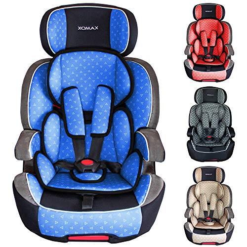 XOMAX XL-518 Kindersitz mit ISOFIX I mitwachsend I 9-36 kg, 1-12 Jahre, Gruppe 1/2/3 I 5-Punkt-Gurt und 3-Punkt-Gurt I Bezug abnehmbar und waschbar I ECE R44/04 I blau/schwarz