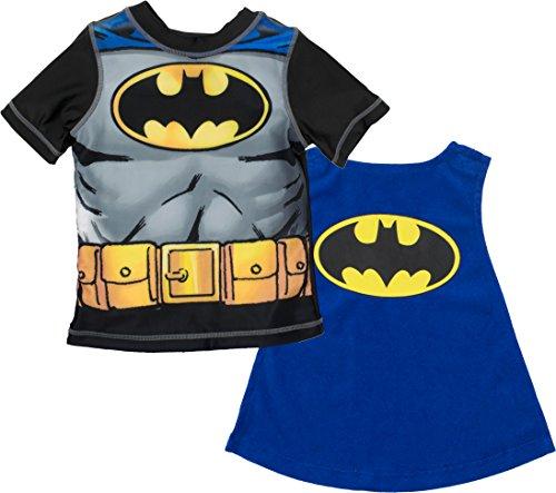 Warner Bros. - Conjunto de Batman con Camiseta de Buceo y Toalla con Forma de Capa para Niño Pequeño (2 Años)
