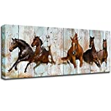KLVOS Canvas Wall Art Racing Horses on Vintage Wood Textured Background - Rustic Country Style Modern Giclee Print Gallery Wrap Home Decor Ready to Hang 20'x48'