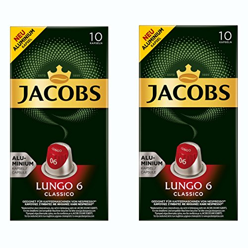 Jacobs Lungo 6 Classico, Kaffeekapseln, Nespresso Kompatibel, Kaffee, 20 Kapseln, á 5.2 g