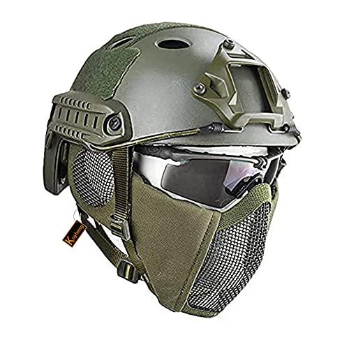 Casco Táctico Fast MH Combinado, con Protección Auditiva Plegable, Máscara de Malla de Media Cara y Gafas para el Juego de Juego Airsoft Paintball CS