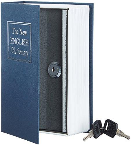 Amazon Basics - Caja de seguridad en forma de libro - Cerradura con llave (pequeña) - Azul