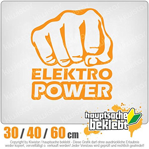 Kiwistar - Elektro Power Faust Schlag Heckscheibenaufkleber Carsticker Decal