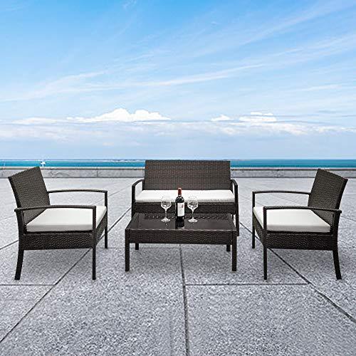 Pectt 4-delad utomhus uteplats möbler set, flätat konversation soffset med kuddar och glasskiva soffbord, rottingstol flätset med kudde för gården, poolen eller trädgården